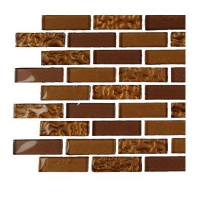 Splashback Tile Contempo Caramel 1/2 in. x 2 in. Glass Tiles - 6 in. x 6 in. Tile Sample-DISCONTINUED