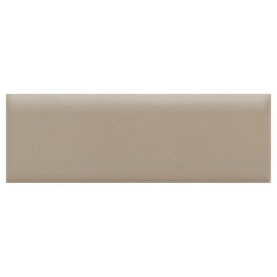 Daltile Semi-Gloss Uptown Taupe 2 in. x 6 in. Ceramic Bullnose Wall Tile-DISCONTINUED
