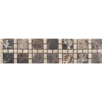 MS International Emperador Dark/Light Border 3 in. x 12 in. Marble Floor and Wall Tile