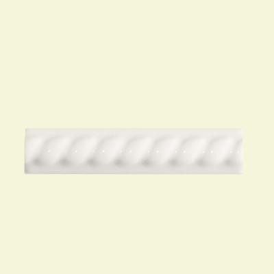 Daltile Semi-Gloss White 1 in. x 6 in. Ceramic Rope Liner Accent Wall Tile