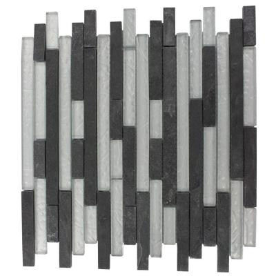 Splashback Tile Tectonic Harmony Black Slate And Silver 12 in. x 12 in. x 8 mm Glass Mosaic Floor and Wall Tile