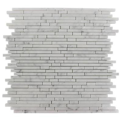 Splashback Tile Windsor 1/4 in. x Random White Carrera Pattern Marble 12 in. x 12 in. x 8 mm Mosaic Floor and Wall Tile