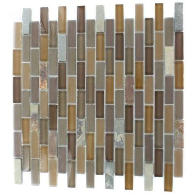 Splashback Tile Tectonic Brick Multicolor Slate and Earth Blend 12 in. x 12 in. x 8 mm Glass Floor and Wall Tile