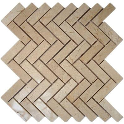 Splashback Tile Crema Marfil Herringbone 12 in. x 12 in. x 8 mm Marble Floor and Wall Tile