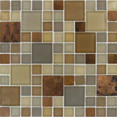 MS International Metropolitan Blend 12 in. x 12 in. x 8 mm Glass Metal Mesh-Mounted Mosaic Tile