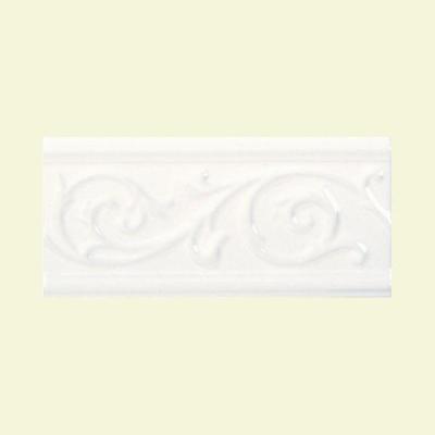 Daltile Fashion Accents White 5 in. x 10 in. Ceramic Vine Liner Wall Tile
