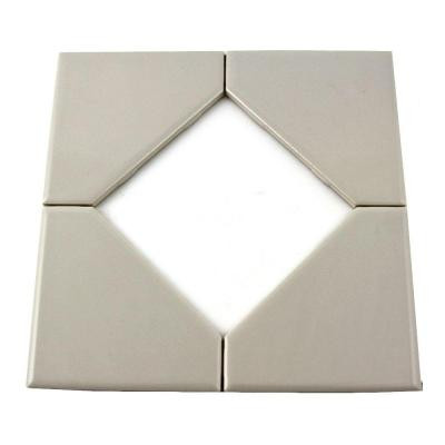 Daltile Semi-Gloss White 8 in. x 8 in. Ceramic Diamond Insert Accent Tile