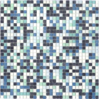 Elementz 12.8 in. x 12.8 in. Venice Caribbean Mix Frosted Glass Tile-DISCONTINUED