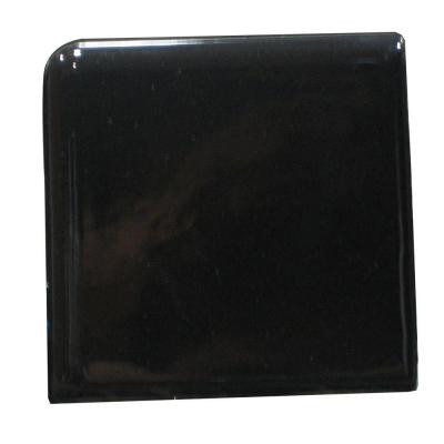 U.S. Ceramic Tile Bright Black 2 in. x 2 in. Ceramic Surface Bullnose Corner Wall Tile -DISCONTINUED