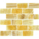 MS International Honey Subway 12 in. x 12 in. x 10 mm Polished Onyx Mesh-Mounted Mosaic Tile