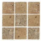 Jeffrey Court Travertino Noce 4 in. x 4 in. x 8 mm Tumbled Stone Tile (9 pieces/1 sq. ft./1 pack)