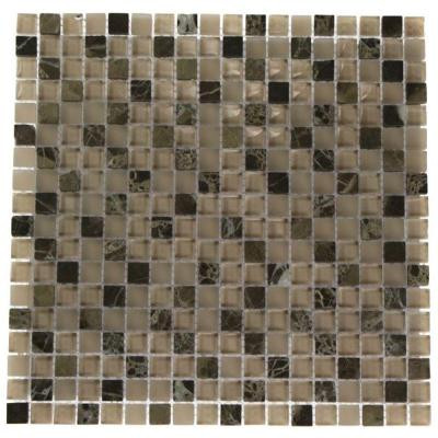 Splashback Tile Namib Desert Blend Squares 12 in. x 12 in. x 8 mm Marble And Glass Mosaic Floor and Wall Tile