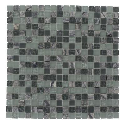 Splashback Tile Paris Rain Blend Squares 12 in. x 12 in. x 8 mm Glass Floor and Wall Tile