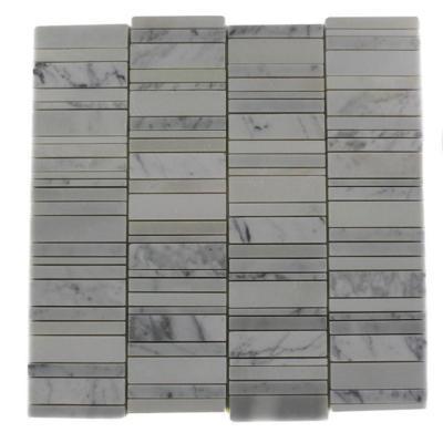 Splashback Tile Piano-Keys Pattern Vintage Mayflower White 12 in. x 12 in. x 8 mm Marble Wall and Floor Tile