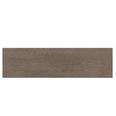 Daltile Identity Oxford Brown Grooved 4 in. x 24 in. Porcelain Bullnose Floor and Wall Tile-DISCONTINUED