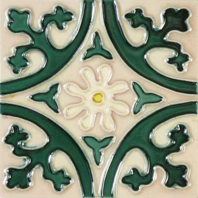 Solistone Hand Painted Ceramic Jardin Deco 6 in. x 6 in. x 6.35mm Ceramic Wall Tile (2.5 sq. ft./case)