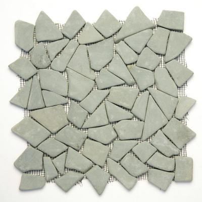 Solistone Indonesian Green Gobos 12 in. x 12 in. x 6.35 mm Natural Stone Pebble Mesh-Mounted Mosaic Tile (10 sq. ft. / case)