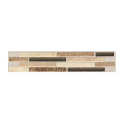 Daltile Campisi Alabaster 2 in. x 9 in. x 8 mm Universal Decorative Stone and Glass Mosaic Wall Tile