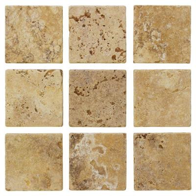 Jeffrey Court Travertino Gold 4 in. x 4 in. Travertine Floor and Wall Tile (9 pieces/sq. ft.)