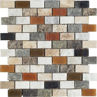 U.S. Ceramic Tile Maximo Stone 12 in. x 12 in. Multicolor Natural Stone Mosaic Tile-DISCONTINUED