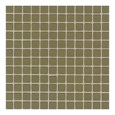 Daltile Maracas Tea Leaves 12 in. x 12 in. 8mm Frosted Glass Mesh-Mounted Mosaic Wall Tile (10 sq. ft. / case)-DISCONTINUED