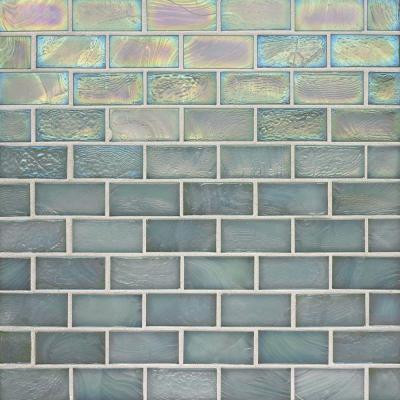 Studio E Edgewater Abalone 1 in. x 2 in. 10-5/8 in. x 10-5/8 in. Glass Floor & Wall Mosaic Tile-DISCONTINUED
