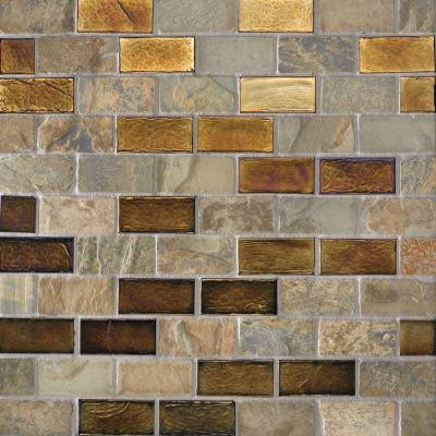 Studio E Edgewater Sunset Cliffs 1 in. x 2 in. 10 5/8 in. x 10 5/8 in. Glass and Slate Floor & Wall Mosaic Tile-DISCONTINUED