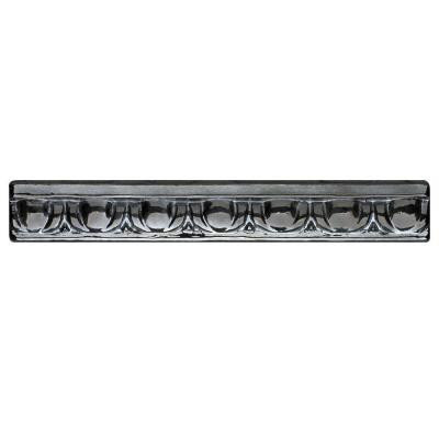 Studio E Edgewater Egg and Dart Black Sand 7-7/8 in. x 1-1/4 in. Glass Liner Wall Tile-DISCONTINUED