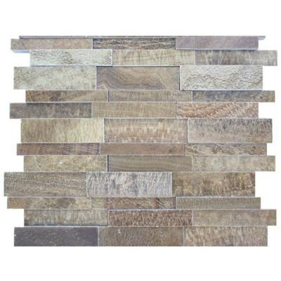Splashback Tile Dimension 3D Brick Wood Onyx Pattern 12 in. x 12 in. Marble Mosaic Floor and Wall Tile-DISCONTINUED