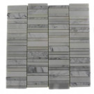 Splashback Tile Piano-Keys Pattern Vintage Mayflower White 12 in. x 12 in. x 8 mm Marble Wall and Floor Tile