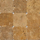 MS International Versailles Gold 4 in. x 4 in. Tumbled Travertine Floor and Wall Tile (1 sq. ft. / case)-DISCONTINUED